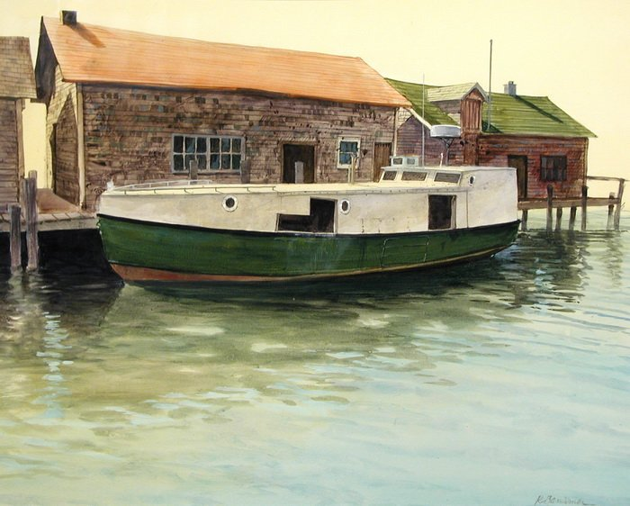 Bansemer studio gallery of fine art gill net fish boat for Lake fishing boats