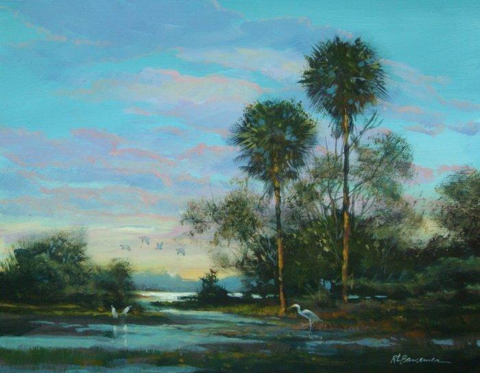 Palms and marsh 11x14