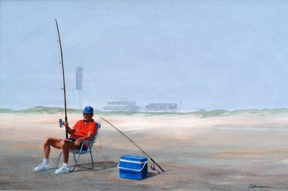 Sullivan Island lighthouse_print_w_fisherman