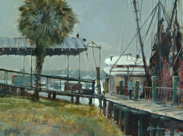 Sunday Morning Shrimp Docks 9x12